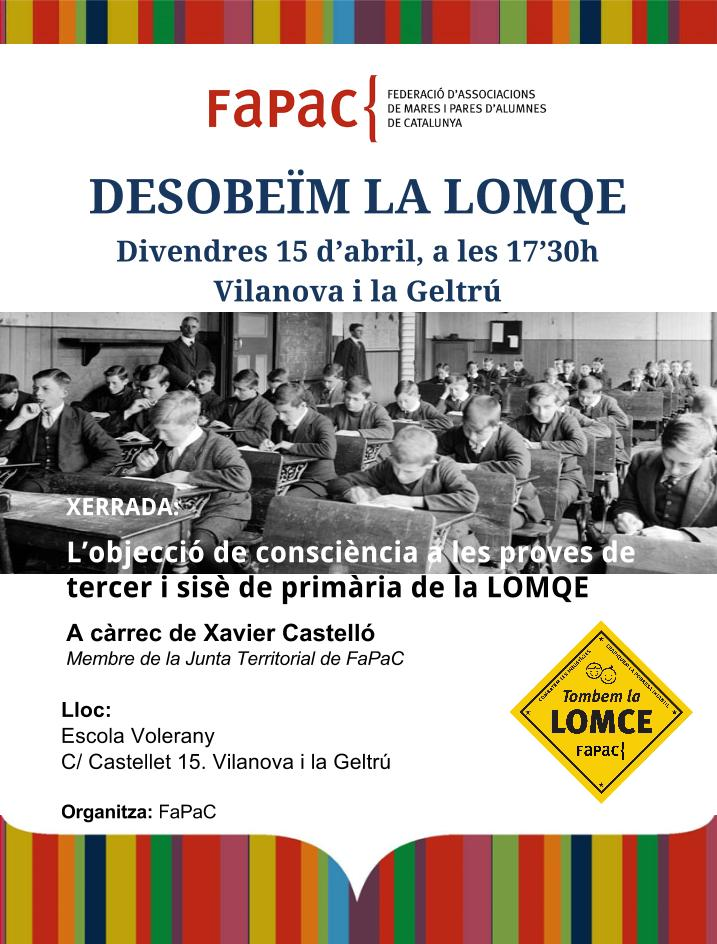 Cartell xerrada lomce a Vilanova i la Geltrú